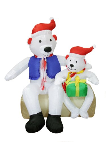 4' Airblown Inflatable Polar Bear Family Lighted Christmas Yard Art Decoration front-515921