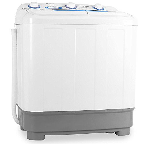 oneConcept DB004 Mini Camping Washing Machine (5.8kg Max Load, 160W Spin Cycle & Quiet operation) - White