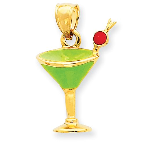 14k Gold Green Enameled Martini Drink w/Cherry Pendant