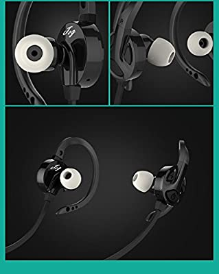jog Bluetooth Headphones, HD Wireless Sports Running Earbuds Stereo In-Ear Noise Cancelling Premium bass Sweatproof Ergonomic Design with mic for iPhone Android Neckband Headset & Zippered Case black
