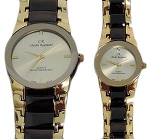 charles raymond his hers designer watches black gold