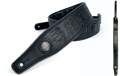 Black 'Embossed Series' Leather Guitar Strap For Electric/Acoustic/Bass Guitar
