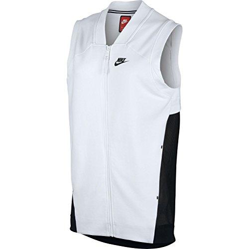 Nike Women's Tech Fleece Cocoon Mesh Full Zip Vest (White, Large)