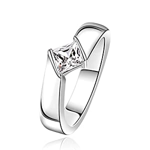 SunIfSnow Women Refined Emulation Zircon Quadrangular Wedding Rings 7