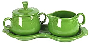 Fiesta Covered Sugar and Creamer Set with Tray, Shamrock by Homer Laughlin