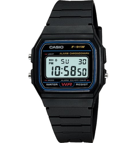 Casio Mens Classic Black Digital Watch #F91W-1