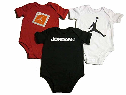 3 Pack Boys Nike Air Jordan Infant Bodysuits (6-9 Months, Red/White/Black-551519)