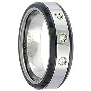 Black Wedding Rings For Him TM 3 Stone Diamond Wedding Ring For Him Her Cttw Beveled Black