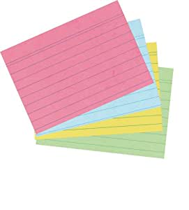 Herlitz A6 Ruled Record Card - Assorted Colours (200 Pieces)