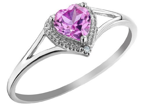 Created Pink Sapphire Heart Ring with Diamond 2/3 Carat (ctw) in 10K White Gold, Size 5