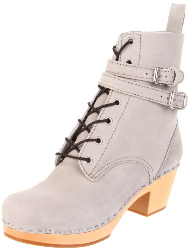 swedish hasbeens Women's Combat Boot,Grey,9 M US