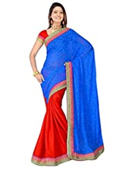 Sehgall Saree Indian Bollywood Designer Ethnic Professional Designer Material Jacquard Red-Blue