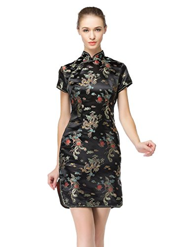 Bitablue Women's Chinese Dragon and Phoenix Knee-length Dress new phoenix 11207 b777 300er pk gii 1 400 skyteam aviation indonesia commercial jetliners plane model hobby