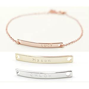 A Name Bar Bracelet Rose Gold Plated Plate Charms Hand Stamp bridesmaid gift and wedding