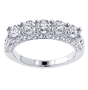 2.85 CT TW 5-Stone Diamond Encrusted Anniversary Wedding Ring in 14k White Gold - Size 8