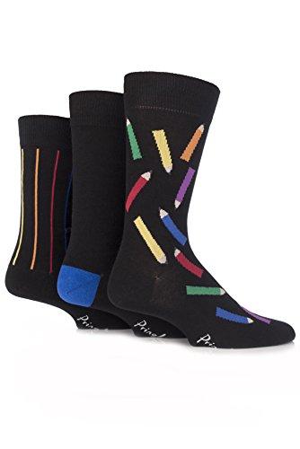 Pringle Men's 3 Pair Coloured Pencil Novelty Cotton Socks 8-12 Black