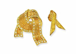 Yellow Ribbon Brooch Set