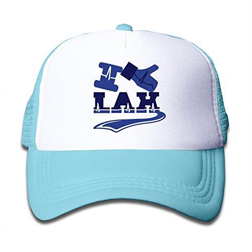 Dophinte I Like Lax Handshake Gift Youth Flexible Mesh Trucker Hat SkyBlue