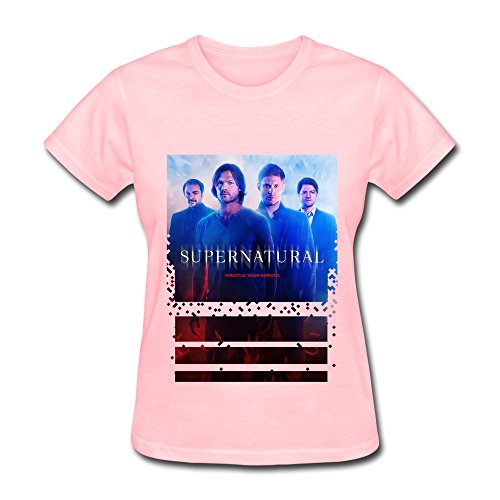 Women's Supernatural Movie TV Poster Short Sleeve T-shirts Size L Pink (Misha Collins Merchandise compare prices)