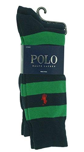 Polo Ralph Lauren Men'S Striped Socks - 2 Pack, Navy/Green