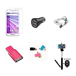 High Quality Combo of Moto G3 Temper Glass + Car Charger 2 USB + USB Data Cable + Card Reader + OTG and USB Dual Card Reader