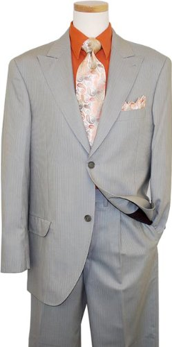 Azione by Zanetti Sage Green / Cognac White Stripes Super 120's Suit ZZ35243 (US 52L - 46 in. Waist0