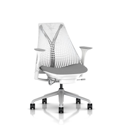 SAYL Chair by Herman Miller - Official Retailer - Basic - White, Fog Arms & Shale Seat