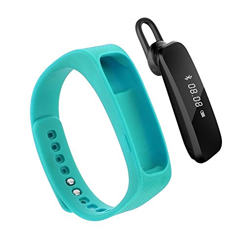 2016 neue Entwurfs-Universal-Bluetooth-Headset mit 0,91-Zoll-OLED-Multifunktions -Smart Watch abnehmbares Armband Fitness Tracker Funkkopfhörer für Apple iPhone 6/5S/5C/5, iPhone 4S/4, Samsung Galaxy S5/S4/S3, LG, PC Laptop, und anderen Bluetooth-Gerät ( blau)