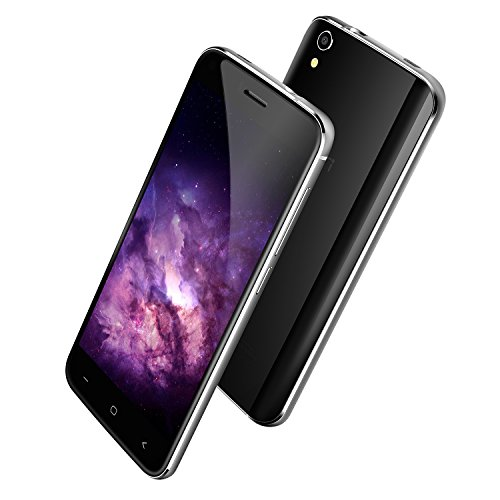 UMI London - 3G Android 6.0 Smartphone Libre de 5 pulgadas(Dual Sim, MT6580 Quad Core 1.3 GHz, 8 GB de memoria interna, 1 GB de RAM, cámara de 8Mp, WIFI Bluetooth GPS) (Negro)