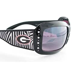 Buy Georgia Bulldogs UGA Black Zebra Print Clear Crystal Ladies Sunglasses S4ZB by Sports Accessory Store