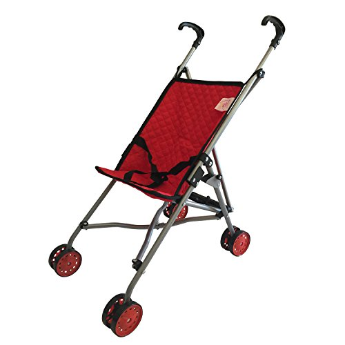 My First Doll Stroller for Kids - Super Cute Doll Stroller for Girls - SUPERIOR QUALITY Red Quilted Fabric- NEW LUXURY COLLECTION - Doll Stroller Folds for Storage - Great Gift for Toddlers (Vintage Doll Pram compare prices)