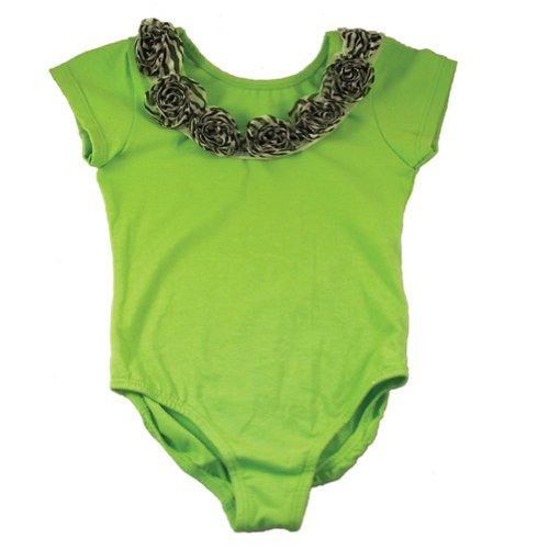 reflectionz Little Girls Lime Green Zebra Print Rosette Dance Ballet Leotard 2-6