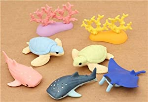 US Toy Assorted Ocean Sea Animals Action Figure (Lot of 12 ... |Sea Creature Erasers Toys