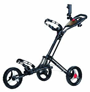 CaddyTek CaddyLite One Click Folding Golf Push Cart (Metallic Black)