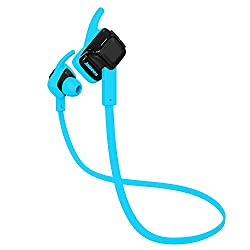 Jabees beating stereo Bluetooth Headset with IPX4 waterproof rating small light weight and comfortable for iPhone/Android/Tables/Smartphone (Black-Blue)