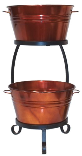 HIT 8020E GC Galvanized Heavy Gauge Steel Beverage Tub with Iron Stand, 13.5 by 30-Inch, Glazed Caramel (Beverage Cooler Stand compare prices)