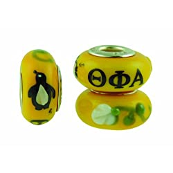 Theta Phi Alpha Sorority Hand Painted Fenton Glass Bead