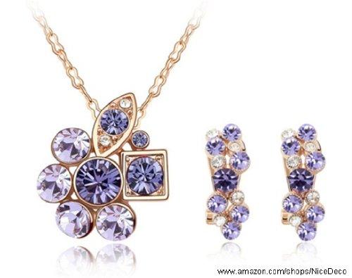 Nicedeco Je-Sw-Tz048-Purple,Swarovski Elements Austrian Crystal Jewelry Sets,Secret Garden,Necklace And Earring(2-Piece Set),Elegant Style And Exquisite Craftsmanship