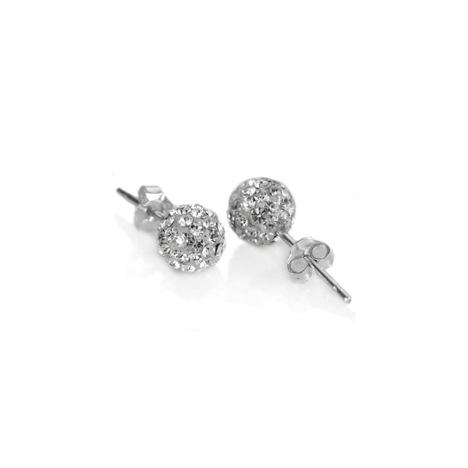 925. Silver White Swarovski Crystal 10mm Size Disco Ball Studs Earrings (001)