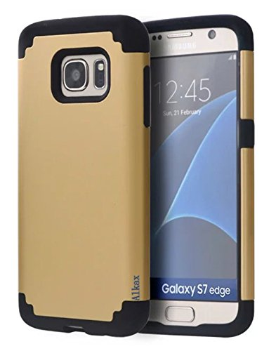 Galaxy S7 Edge Case, Alkax Premium Hybrid Armor Slim Fit Dual Layer Heavy Duty Rugged ScratchProof Protective Defender Cover Shock Absorb Bumper for Samsung Galaxy S7 Edge+One Free Stylus Pen(Gold) (Yugioh Crystal Defender compare prices)