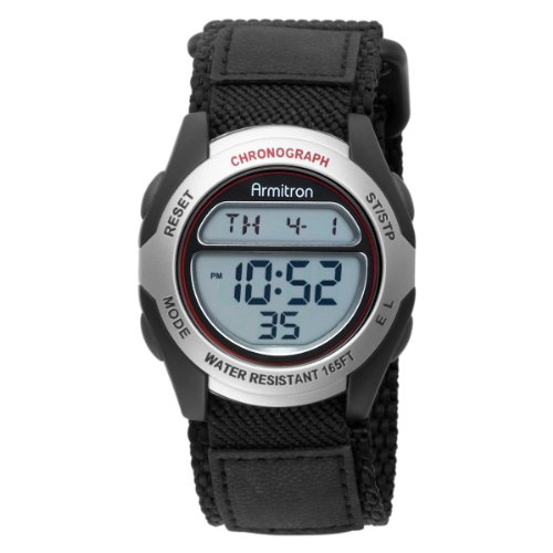 Armitron Men's 408095SIL Chronograph Black Strap Digital Sport Watch