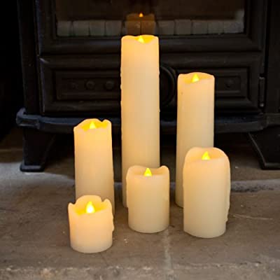Battery Operated Slim LED Pillar Candles with Dripping Wax Set of 6 by Lights4fun by Lights4fun