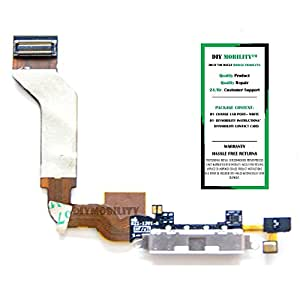 iPhone 4S Replacement Charging Port Dock Flex Cable With Instructions (White) - DIYMOBILITY