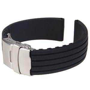 Generic - Silicona reloj correa de caucho band hebilla del despliegue de 18 mm a prueba de agua, color negro por Generic