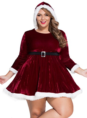 Ubest Women's Plus Size Christmas Santa Costume Hooded Dress XXL (Plus Size Sexy Santa Christmas Costume)
