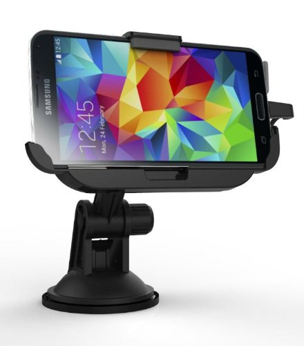 Tmvel Car Mount Dock with Built-In Charger Windshield and Dashboard for Samsung Galaxy S5 G900 G900H G900F Verizon - Retail Packaging - Black