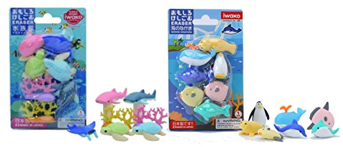 Iwako Japanese Erasers /Sea Animals & Aquarium / Total 14 Erasers Value Set(With Our Shop Original Product Description) - 1