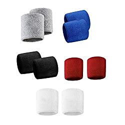 Grey,Blue,Black,Red And White Sports All Weather And Washable Stuff Wrist Bands - Pack of 10 Bands