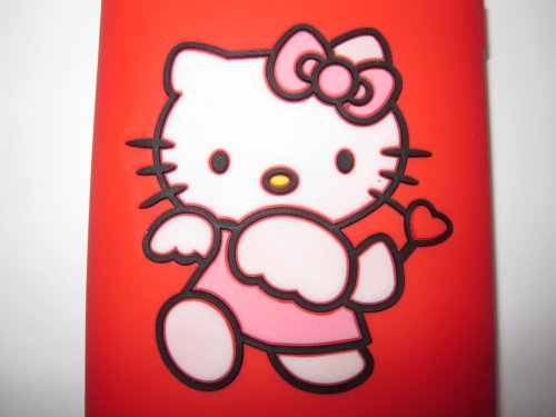 IPhone 3G3GS light weight Hello Kitty Stamped Silicone Case / Skin Cupid Red