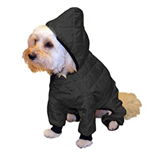 Pedigree Perfection RN101Q-08-BLK Weather Master Quilted Rain Suit for Your Dog, 8-Size, Black